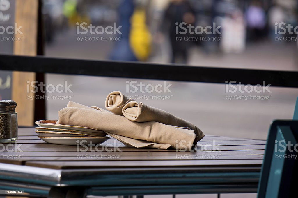 Napkins and Plate at Restaurant royalty-free stock photo