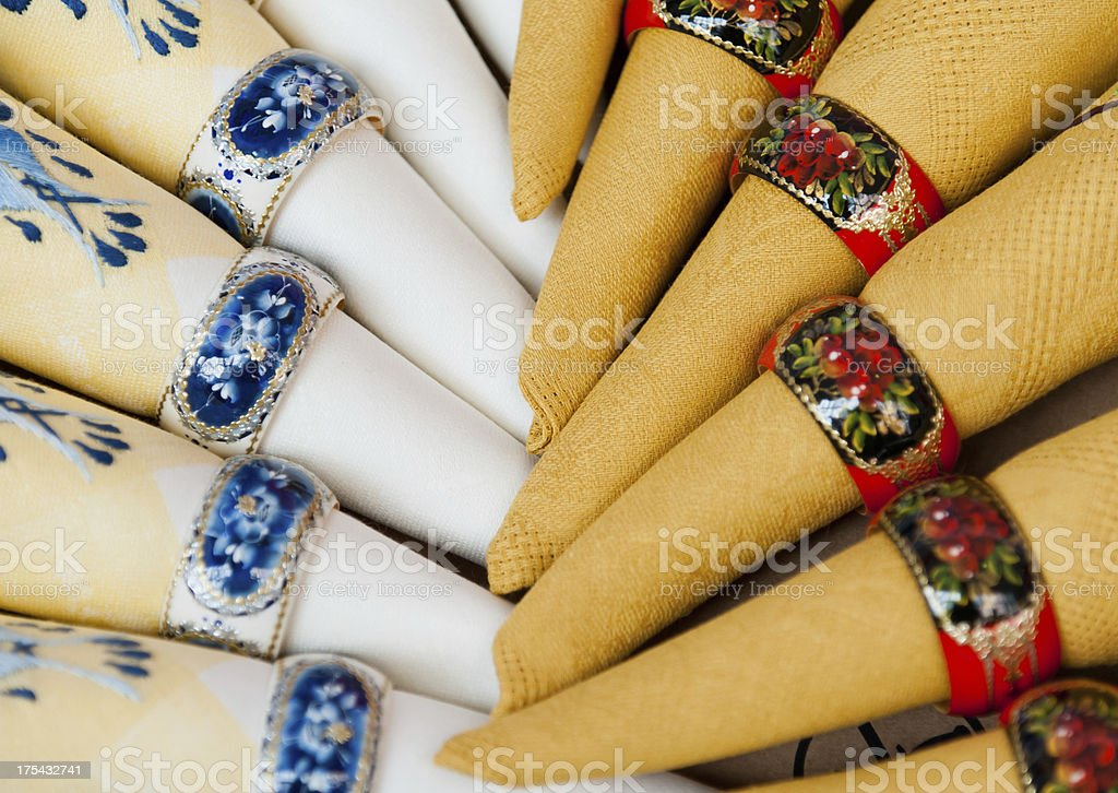 Napkins and Rings royalty-free stock photo