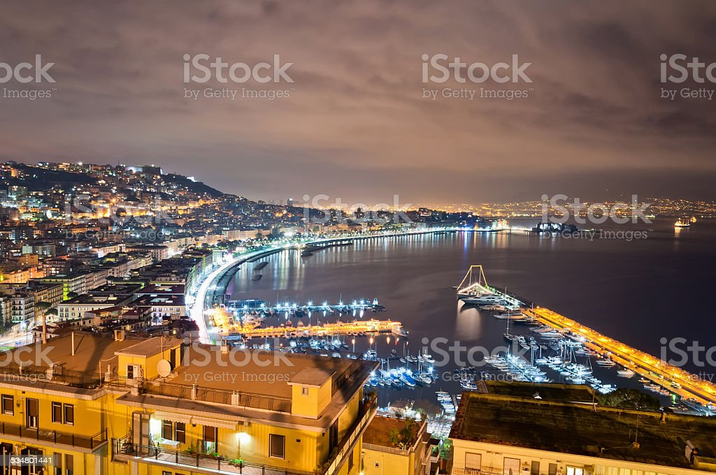 Naples bay view from Posillipo with Mediterranean sea stock photo