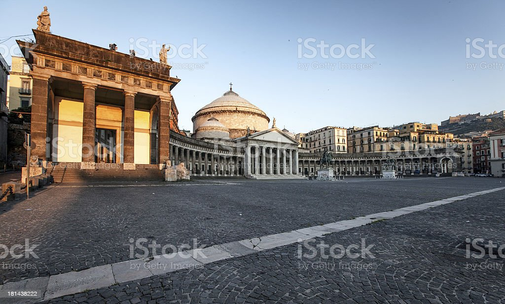 Naples, church of Sain Francesco di Paola stock photo