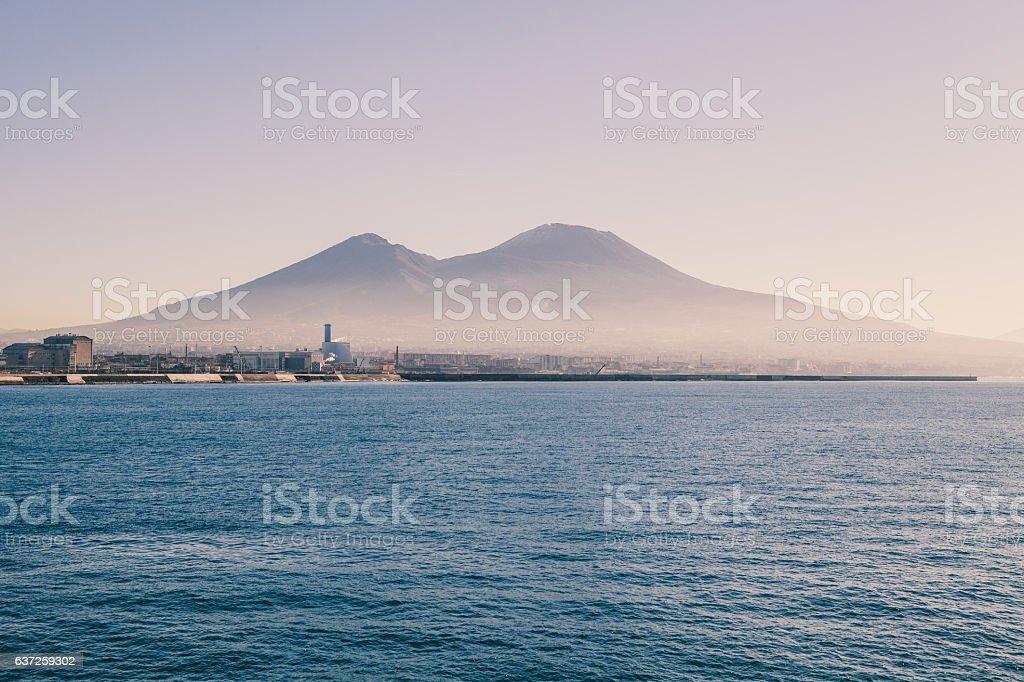Naples Coastline from Sea stock photo