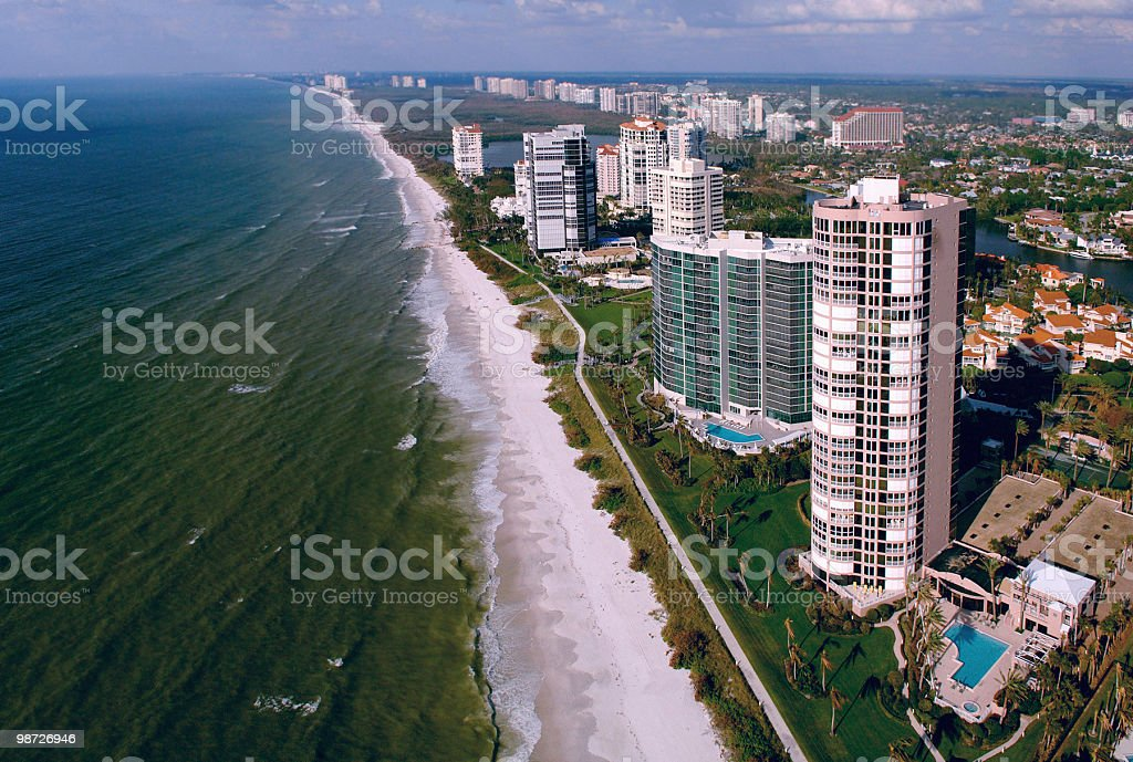naples florida beach aerial stock photo