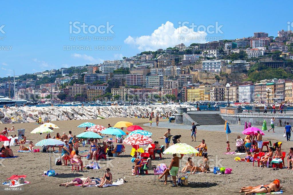 Naples, Italy August 18 2015 Urban beach stock photo