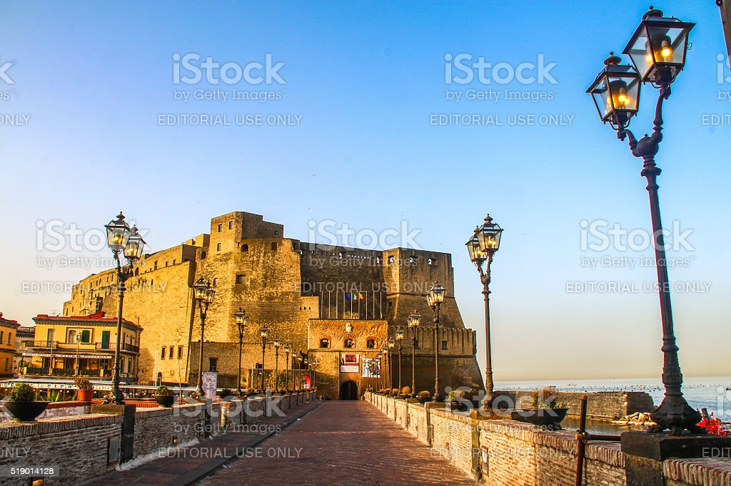 Naples, Italy - May 05, 2015 - Castel dell'Ovo stock photo