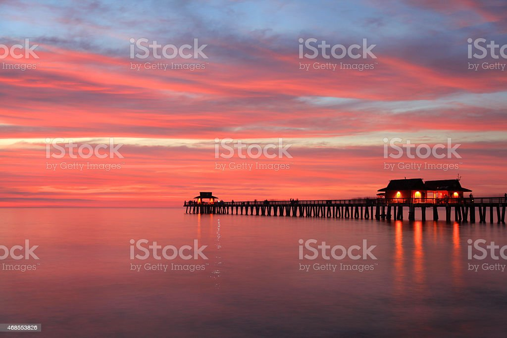 Naples Pier at sunset, Gulf of Mexico, USA stock photo