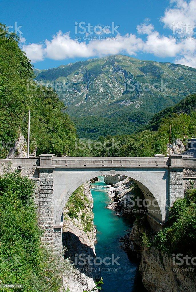 Napoleon Bridge Outside Kobarid stock photo