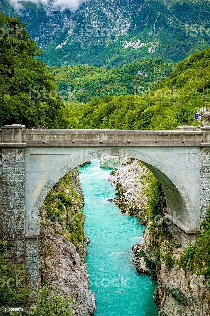 Napoleon bridge over Soca river in Kobarid, Slovenia stock photo