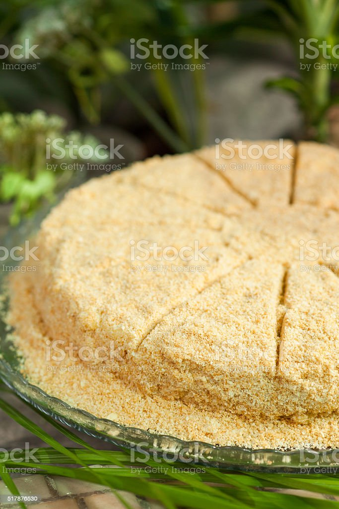 napoleon cake of puff cakes and custard, sprinkled with crumbs stock photo