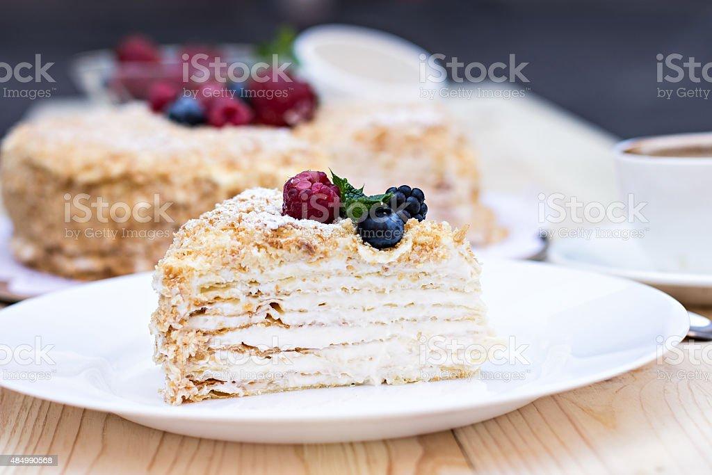 Napoleon cake with berries stock photo