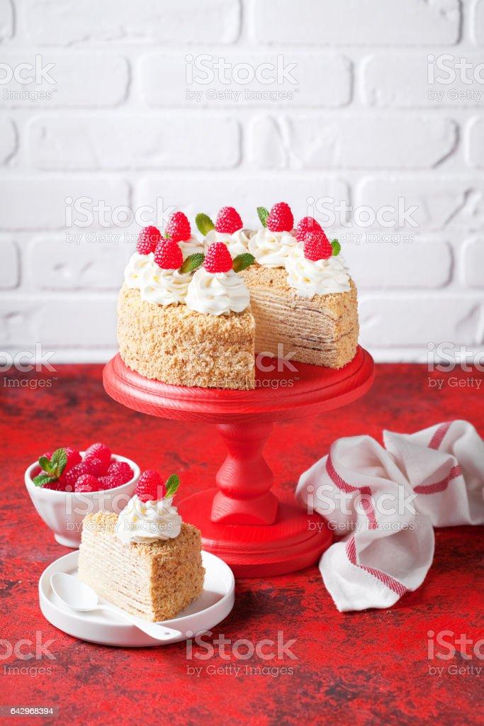 Napoleon Cake With Custard Decorated With Raspberries Stock Photo