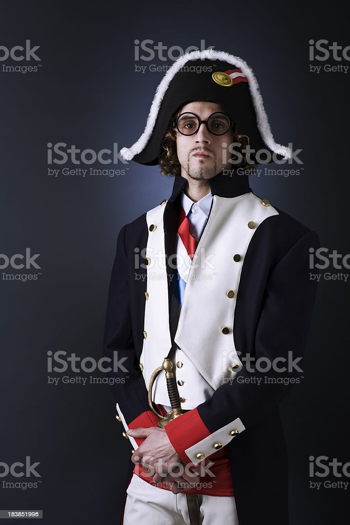 Napoleon look alike french soldier _ vertical. royalty-free stock photo