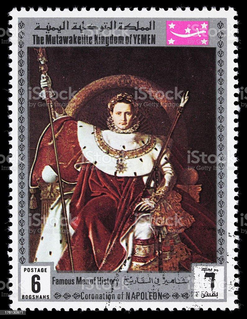 Napoleon on his throne postage stamp stock photo