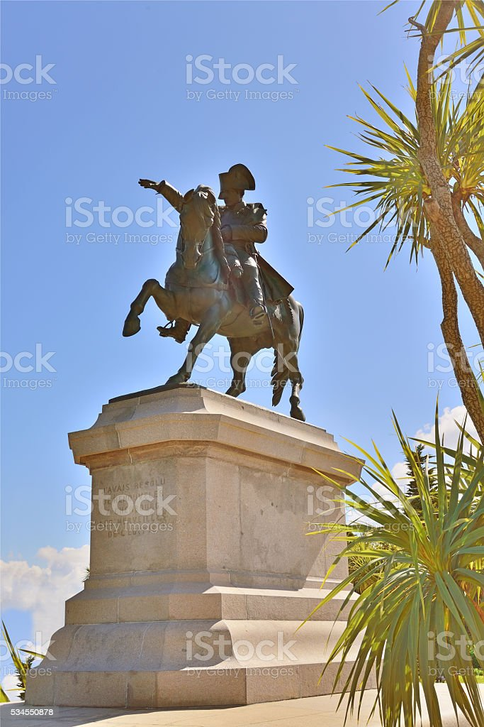 Napoleon on Marengo Memorial in Cherbourg stock photo