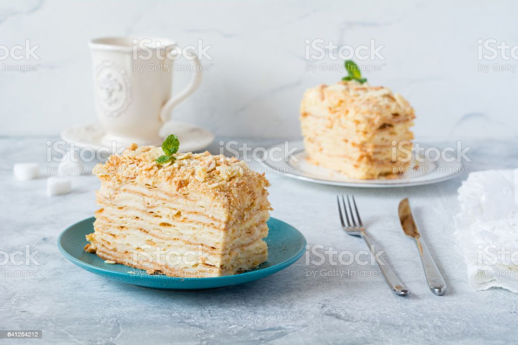 Napoleon or Mille Feuille cake, homemade layered pastry cake stock photo
