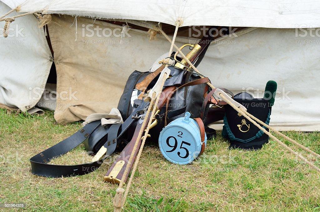 Napoleonic army equipment stock photo