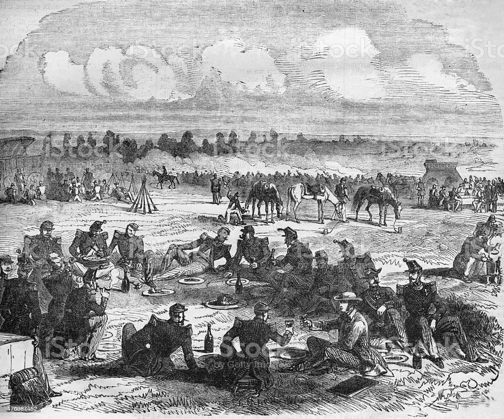 napoleonic army in aix les bain stock photo