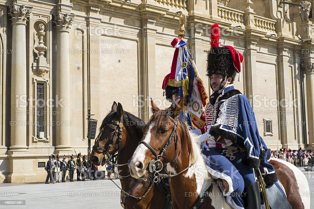 Napoleonic hussars stock photo