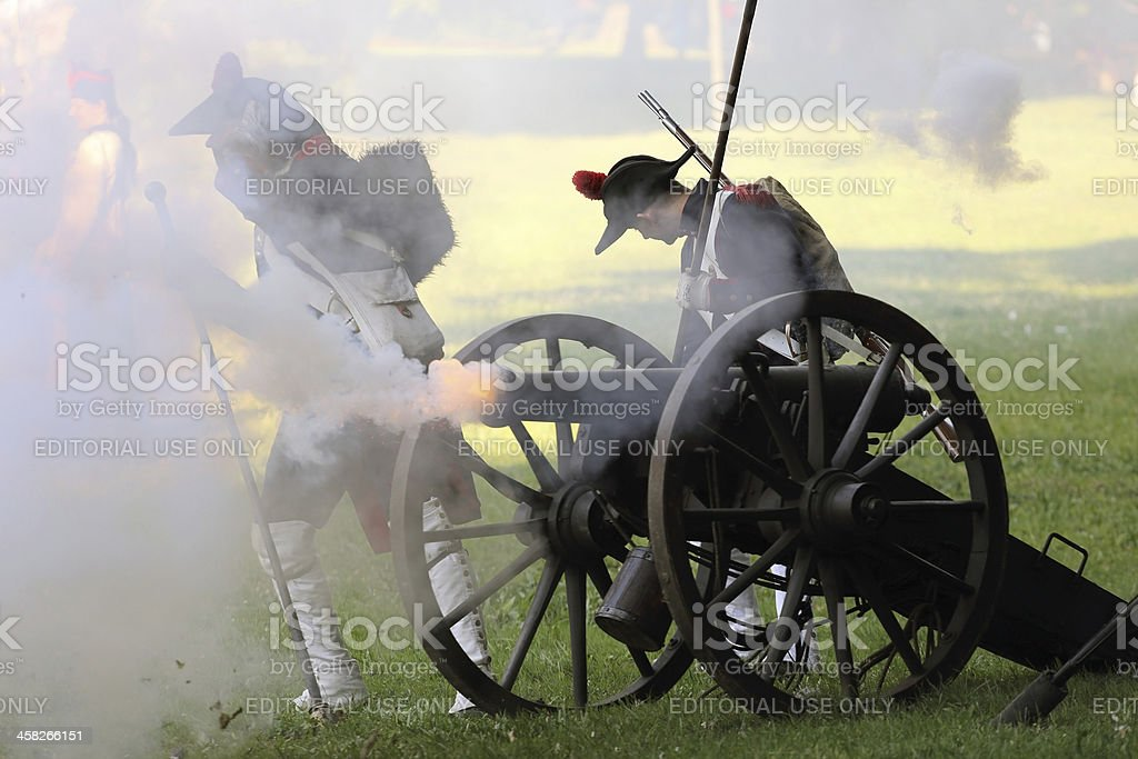 Napoleonic soldiers and cannon stock photo