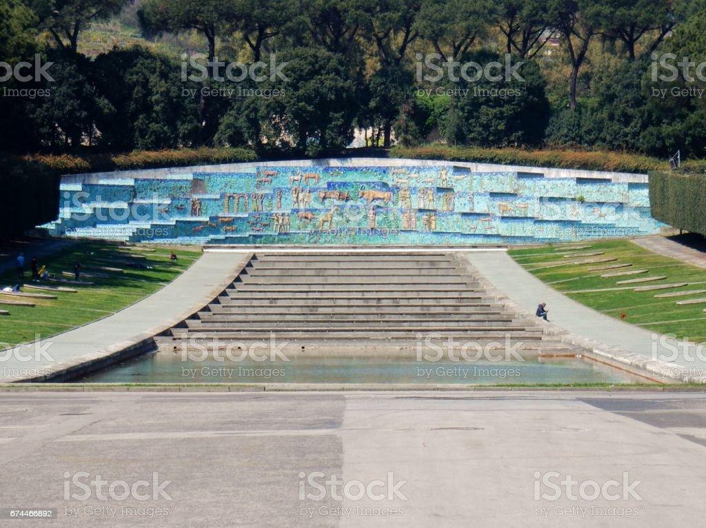 Napoli - Fontana dell'Esedra stock photo