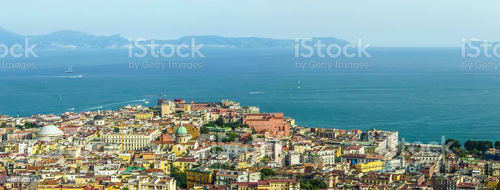 Napoli with the Gulf of Naples at sunset, Campania, Italy stock photo
