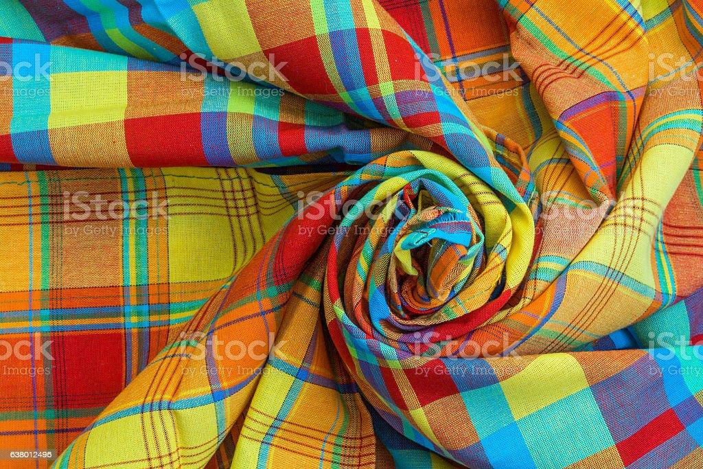 Nappes en madras roulées en spirale, tradition des iles antillaises stock photo