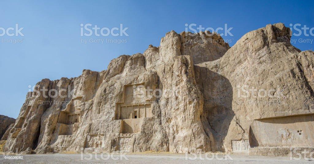 Naqsh-e Rustam necropolis by Perseopolis in Shiraz stock photo