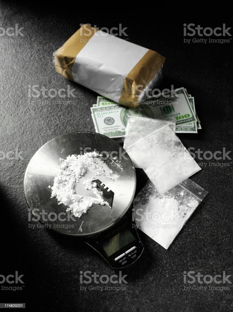 Narcotics Parcels with American Dollars royalty-free stock photo