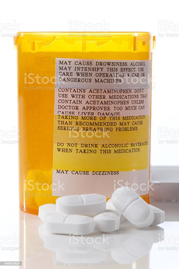 Narcotics with Prescription Warning Label stock photo