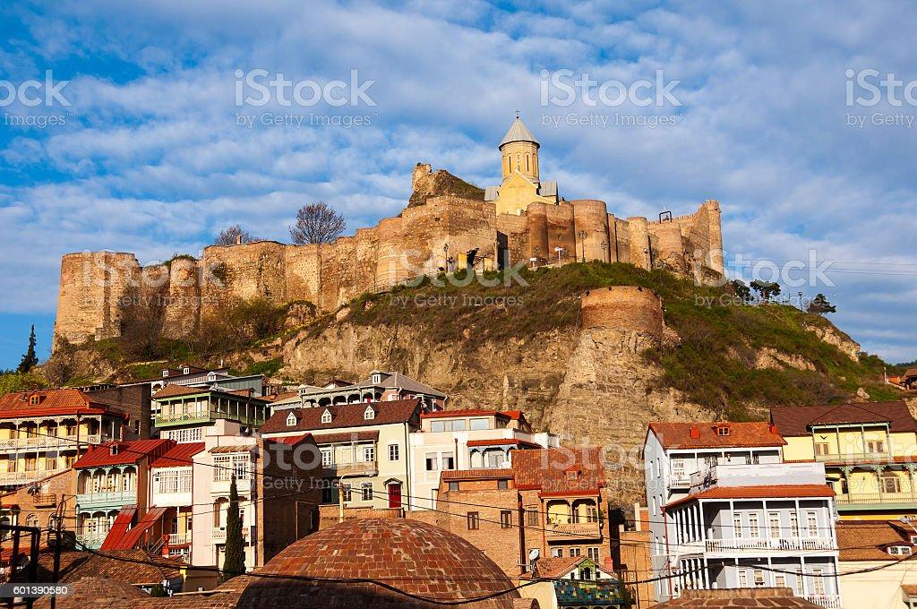 Narikala castle over old Tbilisi, Georgia stock photo