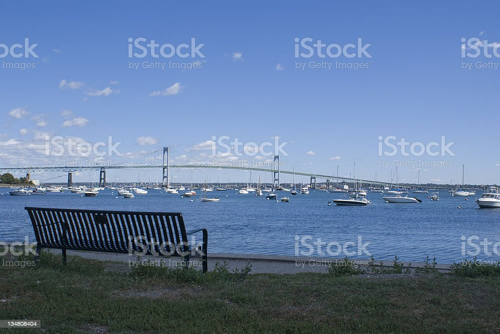 Narragansett Bay and Newport Bridge stock photo