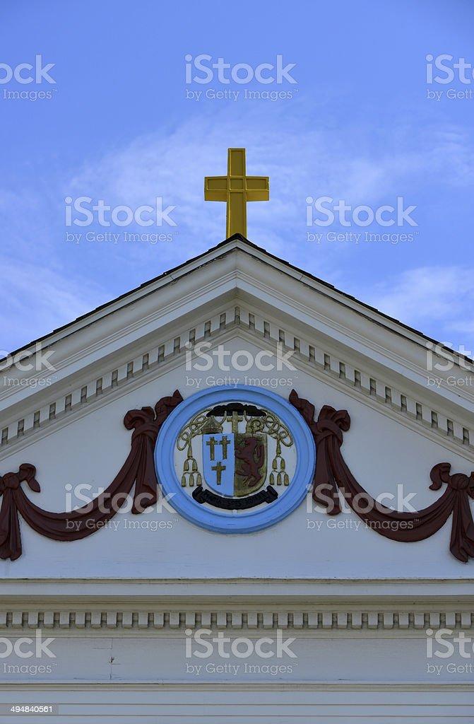 Narragansett, RI: Catholic church detail stock photo