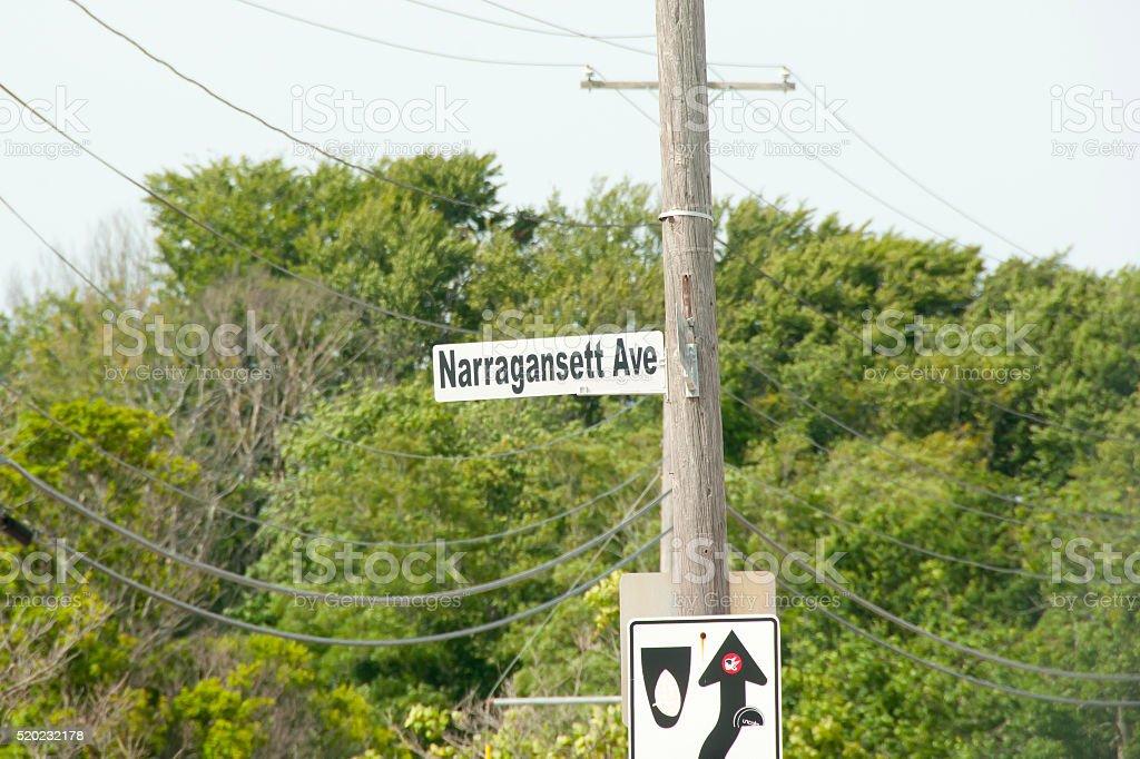 Narragansett Street Sign - Rhode Island stock photo