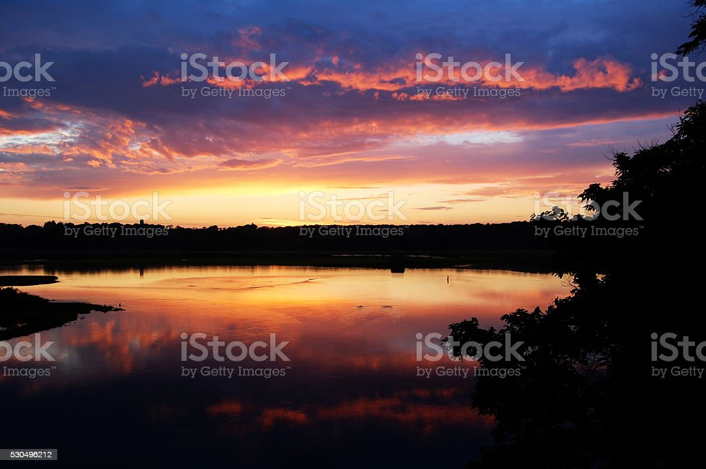 Narragansett sunset stock photo