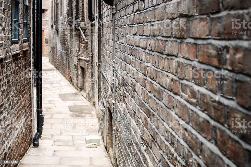 Narrow alley in Liverpool stock photo