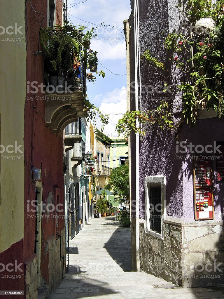 Narrow alley in Mexico royalty-free stock photo