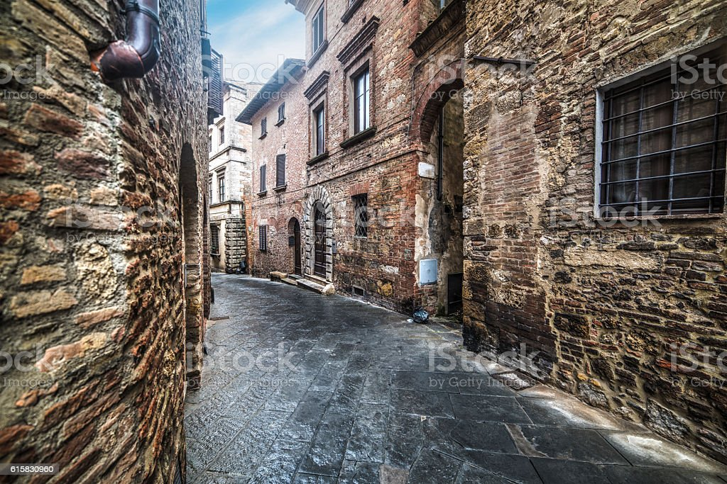 narrow alley in Montepulciano stock photo