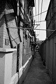 Narrow alley in Shanghai jewish quarter, China