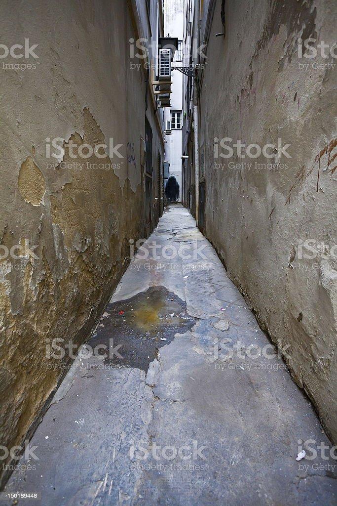 Narrow Alley in Spain, Backstreet Scene royalty-free stock photo