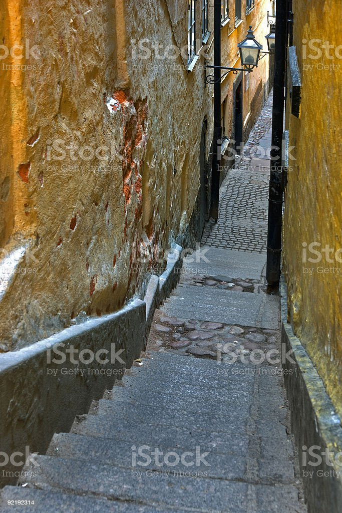 Narrow alley in Stockholm royalty-free stock photo
