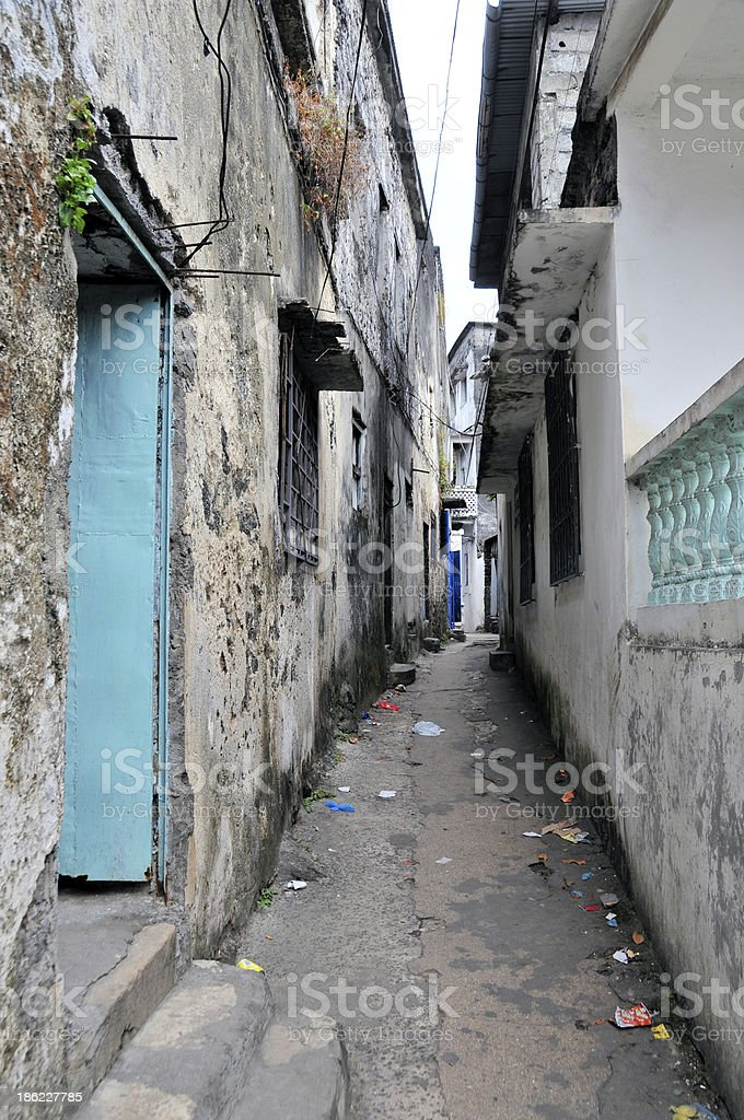 Narrow alley in the Medina (Moroni, Comoros) stock photo
