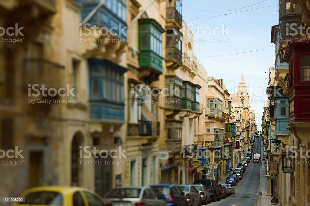 Narrow alley in Valetta. stock photo