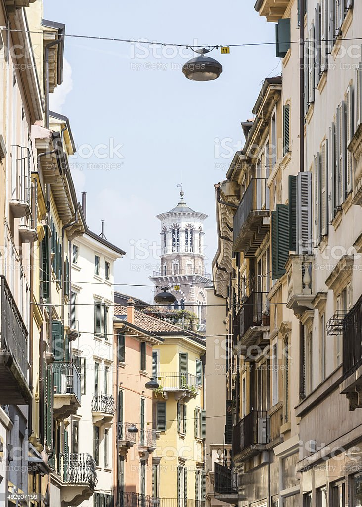 Narrow Alley in Verona stock photo