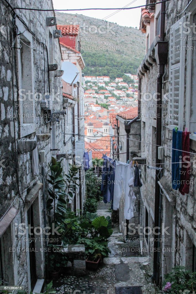 Narrow alley inside the city walls of Dubrovnik, Croatia stock photo