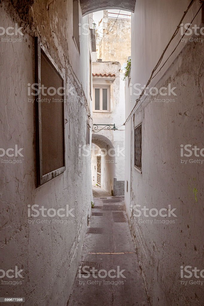 Narrow alley on Capri island, Italy stock photo