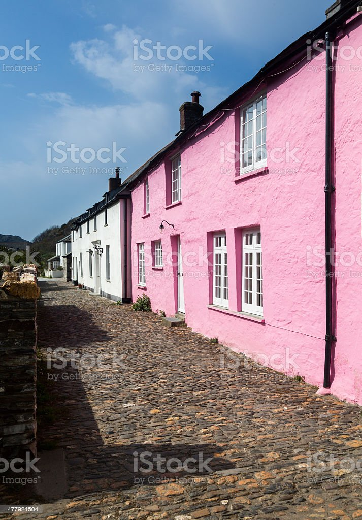 Narrow alley or street in front of colorful cottages  Boscastle stock photo