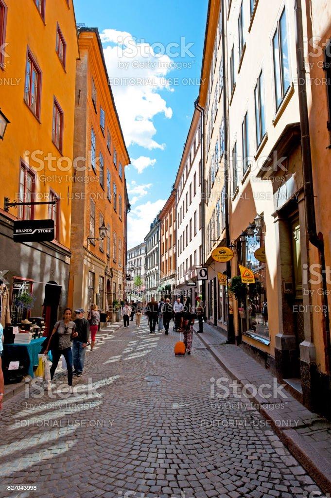 Narrow alleys in Gamla Stan, Stockholm, Sweden stock photo