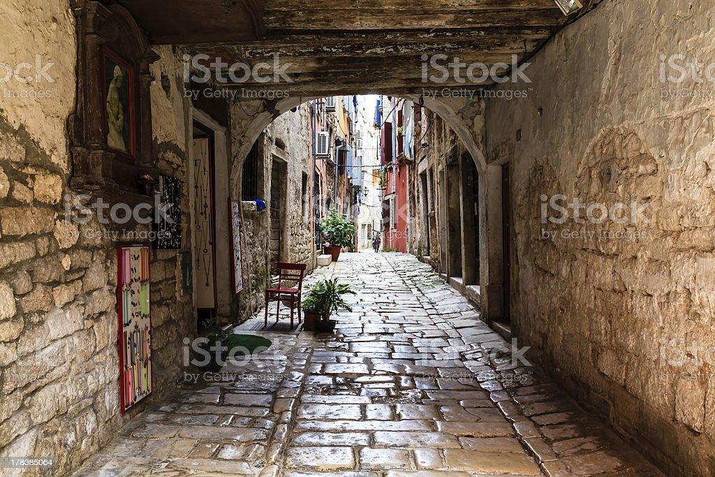 Narrow Archway in the City of Rovinj, Croatia royalty-free stock photo
