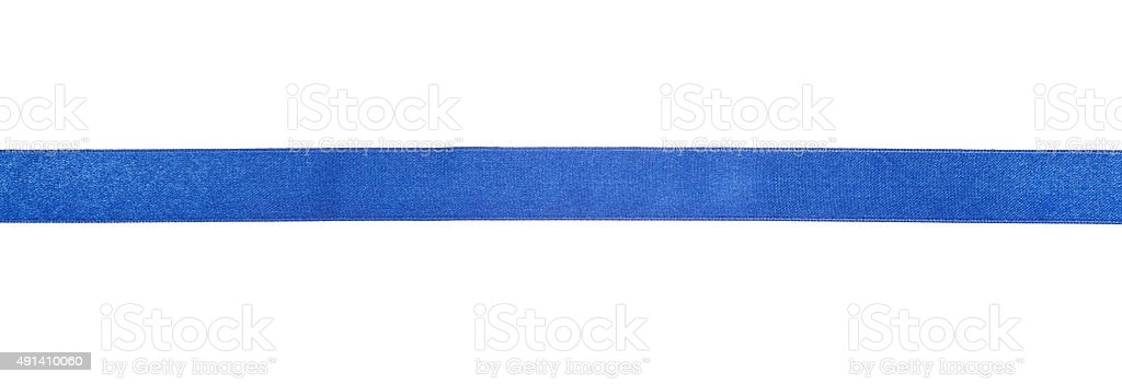 narrow blue satin ribbon isolated on white stock photo