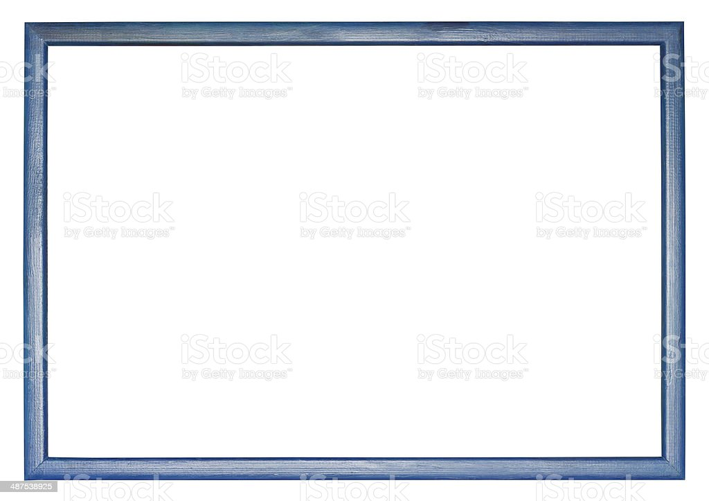 narrow blue wooden picture frame stock photo