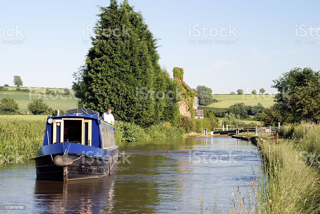 Narrow boat near a lock on the Oxford canal stock photo
